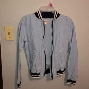 baby blue bomber jacket!